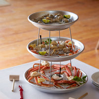 Choice 3-Tier Seafood Tower Set with Small Aluminum Trays and Stand