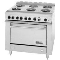 Garland 36ES33 Heavy-Duty Electric Range with 6 Open Burners and Storage Base - 208V, 1 Phase, 12.6 kW