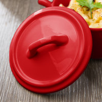 Bon Chef 1600003PRed 4 inch Red Porcelain Cocotte Lid - 36/Case