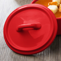 Bon Chef 1600005PRed 5 inch Red Porcelain Oval Cocotte Lid - 36/Case