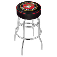 Holland Bar Stool L7C130Marine United States Marine Corps Double Ring Swivel Bar Stool with 4 inch Padded Seat