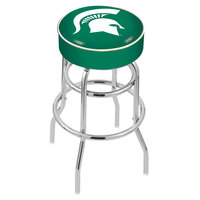 Holland Bar Stool L7C130MichSt Michigan State University Double Ring Swivel Bar Stool with 4 inch Padded Seat