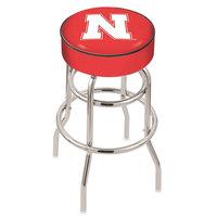 Holland Bar Stool L7C130NebrUn University of Nebraska Double Ring Swivel Bar Stool with 4 inch Padded Seat