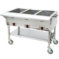 APW Wyott PST-3 Three Pan Exposed Portable Steam Table with Coated Legs and Undershelf - 1500W - Open Well, 120V