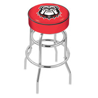 Holland Bar Stool L7C130GA-Dog University of Georgia Double Ring Swivel Bar Stool with 4 inch Padded Seat
