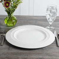 Bon Chef 1000017P Concentrics 12 7/8 inch White Porcelain Charger Plate - 8/Pack