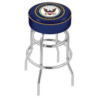 Holland Bar Stool L7C130Navy United States Navy Double Ring Swivel Bar Stool with 4 inch Padded Seat