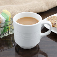 Bon Chef 1400002P Stacked Lines 8 oz. White Porcelain Mug - 36/Case