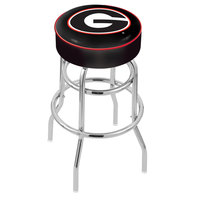 Holland Bar Stool L7C130GA-G University of Georgia Double Ring Swivel Bar Stool with 4 inch Padded Seat