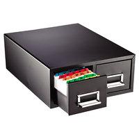 Steelmaster 263F5816DBLA 18 2/5 inch x 16 inch x 7 1/4 inch Black 2 Drawer Index Card Cabinet - 5 inch x 8 inch Cards