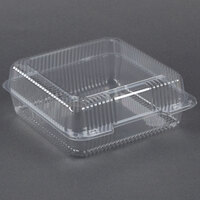 Dart Solo C50UTD StayLock 9 1/8 inch x 9 1/2 inch x 3 5/8 inch Clear Hinged Plastic 9 inch Square High Dome Container - 250/Case