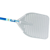 GI Metal A-37RF/60 Azzurra 14'' Anodized Aluminum Rectangular Perforated Pizza Peel with 23 1/2 inch Handle