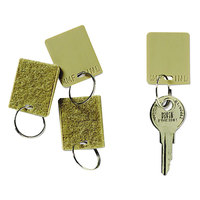 Steelmaster 201500003 1 1/4 inch Tan Square Hook and Loop Fastener Replacement Key Tag - 12/Pack