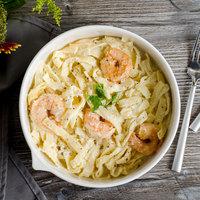 Bon Chef 1400000P Stacked Lines 48 oz. White Porcelain Pasta Bowl - 8/Pack