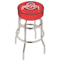 Holland Bar Stool L7C130OhioSt Ohio State University Double Ring Swivel Bar Stool with 4 inch Padded Seat