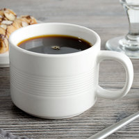 Bon Chef 1400006P Stacked Lines 7 oz. White Porcelain Cup - 36/Case