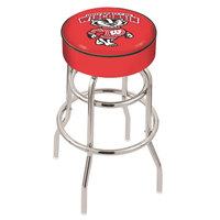 Holland Bar Stool L7C130WI-Bdg University of Wisconsin Double Ring Swivel Bar Stool with 4 inch Padded Seat