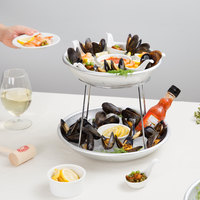 Choice 2-Tier Seafood Tower Set with Mini Aluminum Trays and Stand