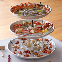 Choice 3-Tier Seafood Tower Set with Large Aluminum Trays and Stand