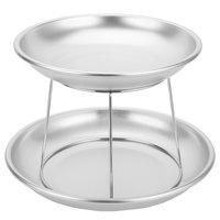 Choice 2-Tier Seafood Tower Set with Small Aluminum Trays and Stand