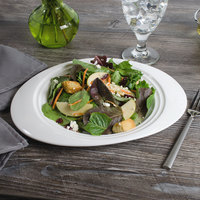Bon Chef 1000015P Concentrics 11 1/8 inch x 8 13/16 inch White Porcelain Oval Salad Plate - 24/Case