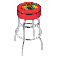 Holland Bar Stool L7C130ChiHwk-R Chicago Blackhawks Double Ring Swivel Bar Stool with 4 inch Padded Seat