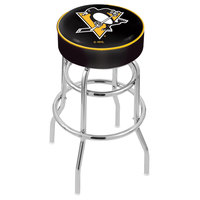 Holland Bar Stool L7C130PitPen Pittsburgh Penguins Double Ring Swivel Bar Stool with 4 inch Padded Seat