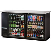 True TBB-24-60G-HC-LD 61 inch Black Glass Door Narrow Back Bar Refrigerator with LED Lighting