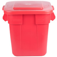 Rubbermaid BRUTE 28 Gallon Square Red Trash Can and Lid