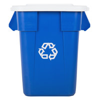 Rubbermaid BRUTE 40 Gallon Square Blue Recycling Can and White Lid
