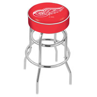 Holland Bar Stool L7C130DetRed Detroit Red Wings Double Ring Swivel Bar Stool with 4 inch Padded Seat