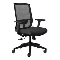 Mayline GS11SVRBLK Gist Black Multi-Purpose Swivel Chair with Arms