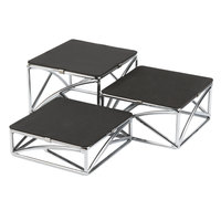 Tablecraft CR3 Set of Three Chrome Plated Square Metal Riser Set - 2 inch, 3 inch, 4 inch