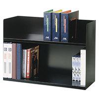 Steelmaster 26423BRBK 29 1/8 inch x 10 5/16 inch x 20 inch Black Two-Tier Steel Desktop Book Rack
