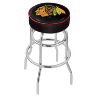 Holland Bar Stool L7C130ChiHwk-B Chicago Blackhawks Double Ring Swivel Bar Stool with 4 inch Padded Seat