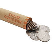 MMF Industries 2160640D16 Preformed Orange Coin Wrapper - $10, Quarters - 1000/Case