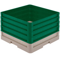 Vollrath CR1AAAA-32819 Traex® Full-Size Beige 11 1/2 inch Open Rack with Closed Sides and 4 Green Extenders