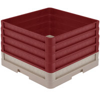 Vollrath CR1AAAA-32821 Traex® Full-Size Beige 11 1/2 inch Open Rack with Closed Sides and 4 Burgundy Extenders
