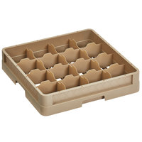 Vollrath CR4DD-32944 Traex® 16 Compartment Beige Full-Size Closed Wall 6 3/8 inch Cup Rack - 1 Beige Extender, 1 Royal Blue Extender