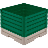 Vollrath CR1AAAAA-32819 Traex® Full-Size Beige 13 1/2 inch Open Rack with Closed Sides and 5 Green Extenders