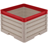 Vollrath CR1AAAA-32902 Traex® Full-Size Beige 11 1/2 inch Open Rack with Closed Sides - 3 Beige Extenders, 1 Red Extender