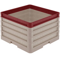 Vollrath CR1AAAA-32921 Traex® Full-Size Beige 11 1/2 inch Open Rack with Closed Sides - 3 Beige Extenders, 1 Burgundy Extender