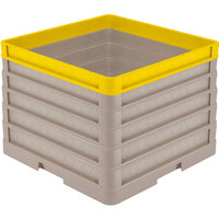 Vollrath CR1AAAAA-32908 Traex® Full-Size Beige 13 1/2 inch Open Rack with Closed Sides - 4 Beige Extenders, 1 Yellow Extender