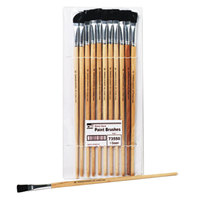 Charles Leonard 73550 Natural Wood Size 12 Flat Natural Bristle Long-Handle Easel Paint Brush - 12/Pack