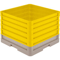 Vollrath CR1AAAAA-32808 Traex® Full-Size Beige 13 1/2 inch Open Rack with Closed Sides and 5 Yellow Extenders