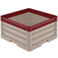 Vollrath CR1AAA-32921 Traex® Full-Size Beige 9 1/2 inch Open Rack with Closed Sides - 2 Beige Extenders, 1 Burgundy Extender