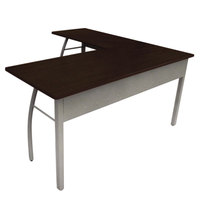 Linea Italia TR737MOC Trento Mocha / Gray L-Shaped Desk - 59 1/8 inch x 59 1/8 inch x 29 1/2 inch