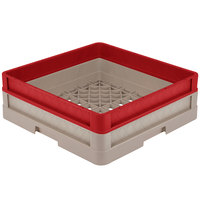 Vollrath CR1A-32902 Traex® Full-Size Beige 5 1/2 inch Open Rack with Closed Sides and 1 Red Extender