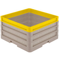 Vollrath CR1AAA-32908 Traex® Full-Size Beige 9 1/2 inch Open Rack with Closed Sides - 2 Beige Extenders, 1 Yellow Extender