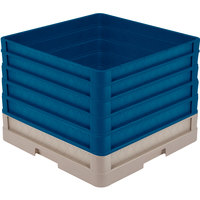 Vollrath CR1AAAAA-32844 Traex® Full-Size Beige 13 1/2 inch Open Rack with Closed Sides and 5 Royal Blue Extenders